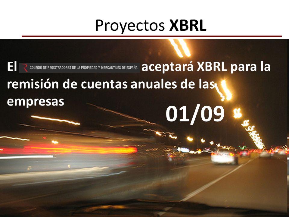 Proyectos XBRLEl aceptará XBRL para la remisión de cuentas anuales de las empresas.