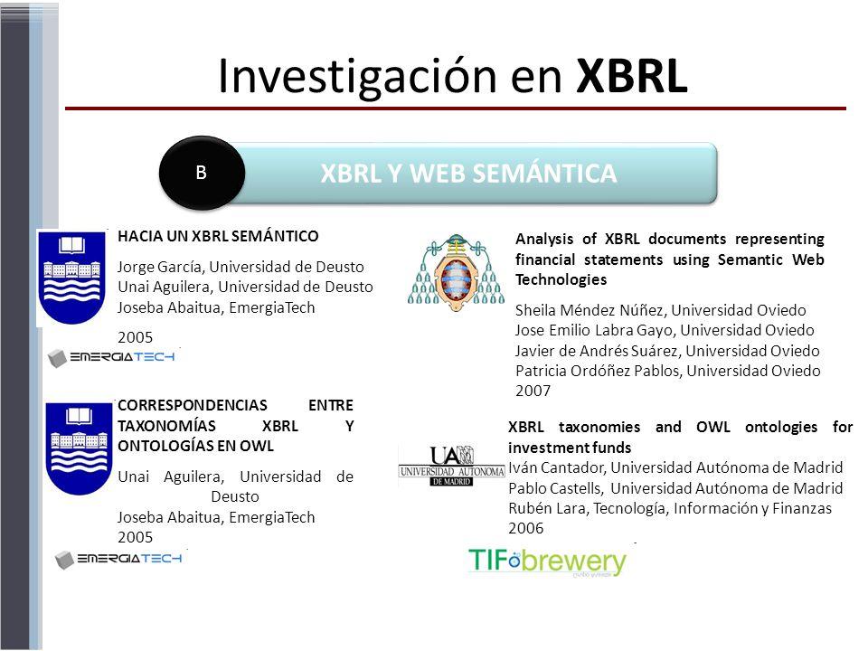 Investigación en XBRL XBRL Y WEB SEMÁNTICA B HACIA UN XBRL SEMÁNTICO