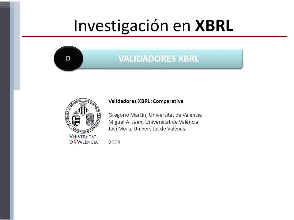 Investigación en XBRL VALIDADORES XBRL D Validadores XBRL: Comparativa