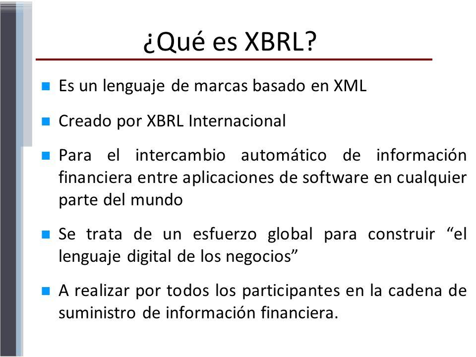 ¿Qué es XBRL Es un lenguaje de marcas basado en XML