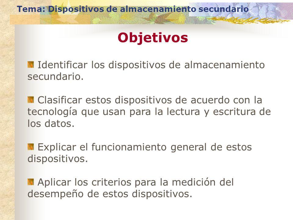 Objetivos Identificar los dispositivos de almacenamiento secundario.