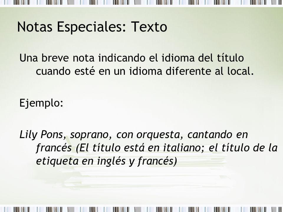 Notas Especiales: Texto