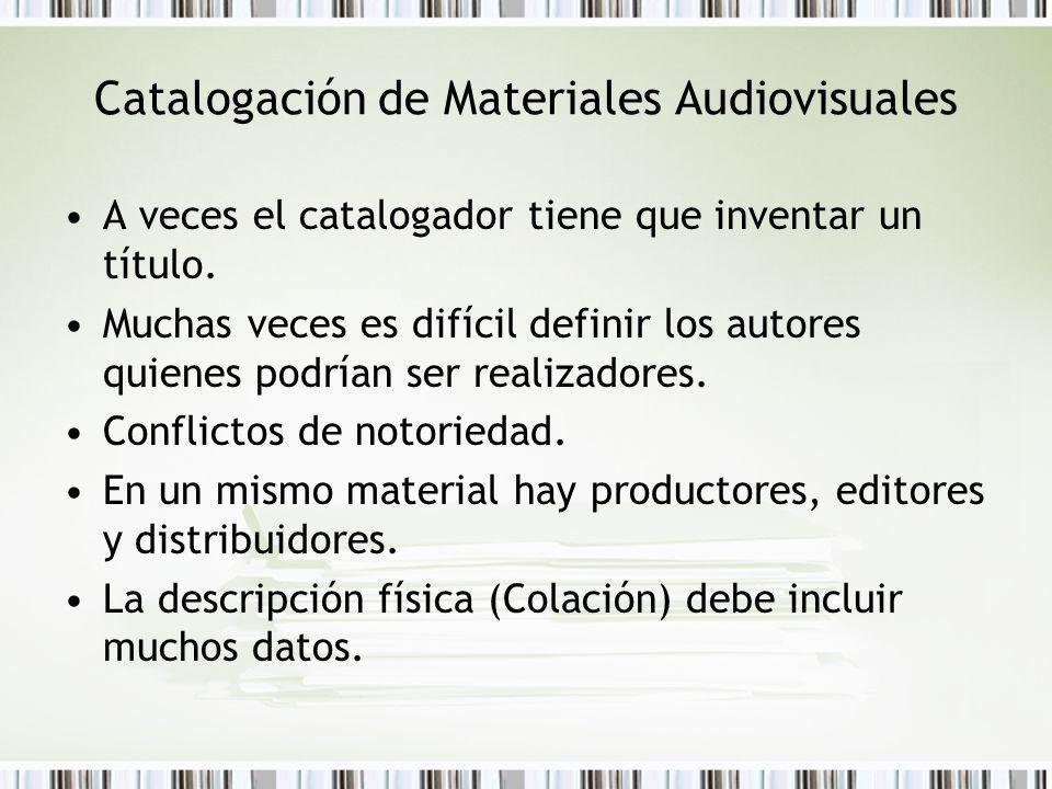 Catalogación de Materiales Audiovisuales