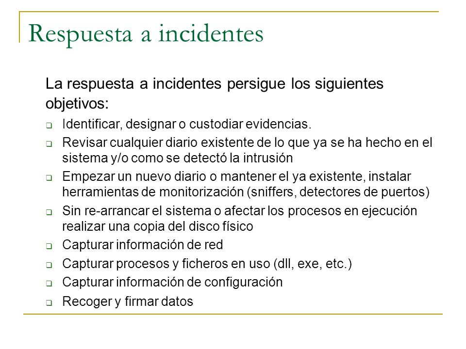 Respuesta a incidentes