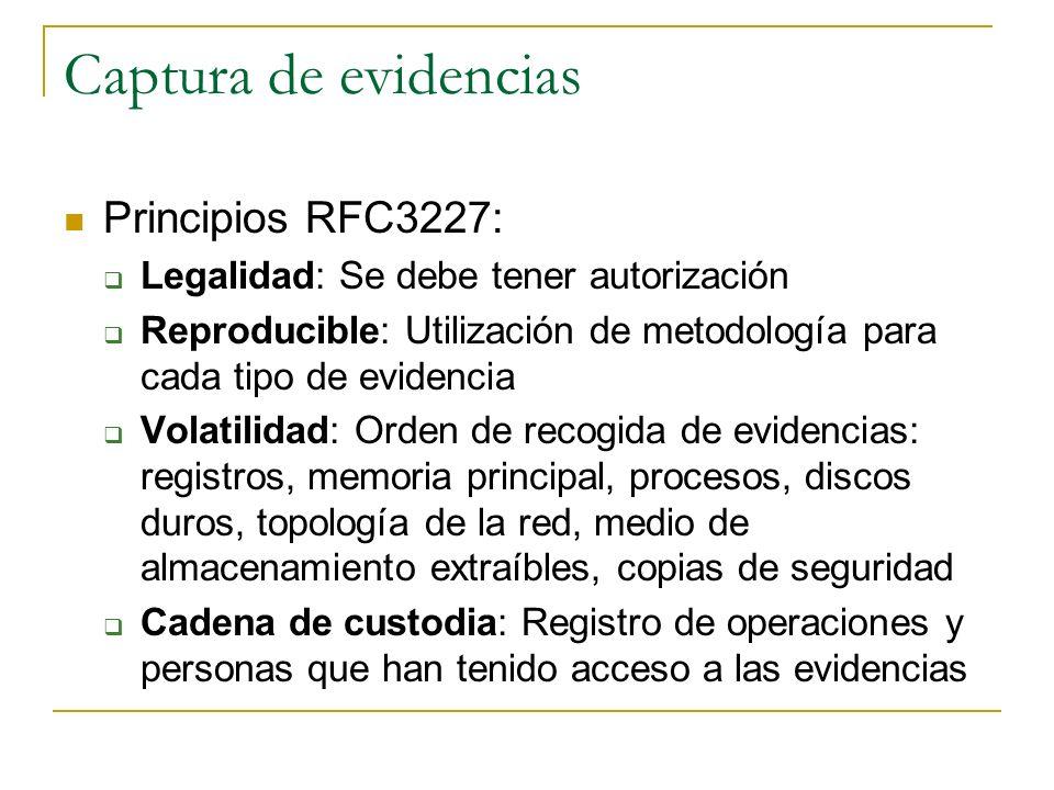 Captura de evidencias Principios RFC3227: