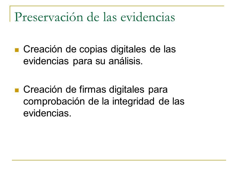 Preservación de las evidencias