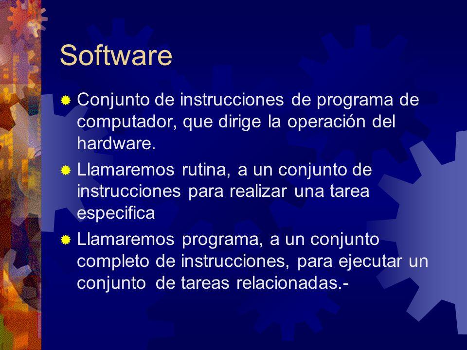 Software Conjunto de instrucciones de programa de computador, que dirige la operación del hardware.