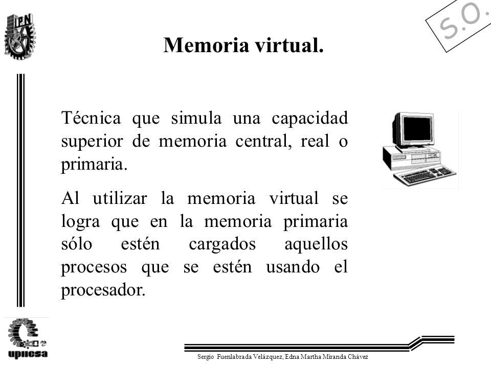 Memoria virtual.Técnica que simula una capacidad superior de memoria central, real o primaria.