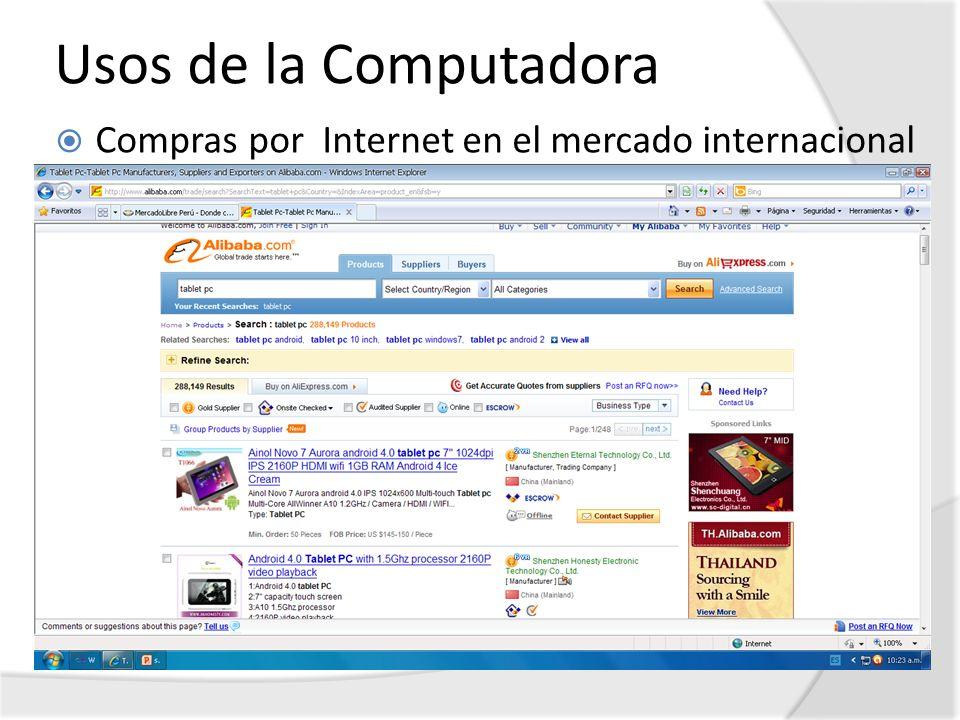Usos de la Computadora Compras por Internet en el mercado internacional