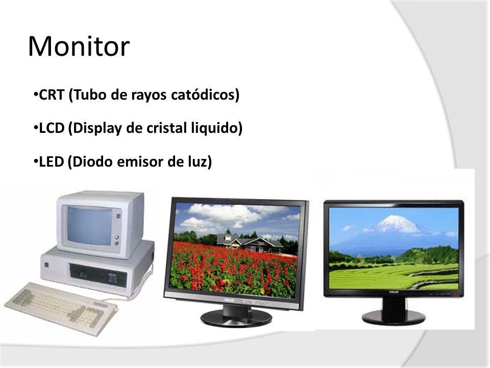 Monitor CRT (Tubo de rayos catódicos) LCD (Display de cristal liquido)