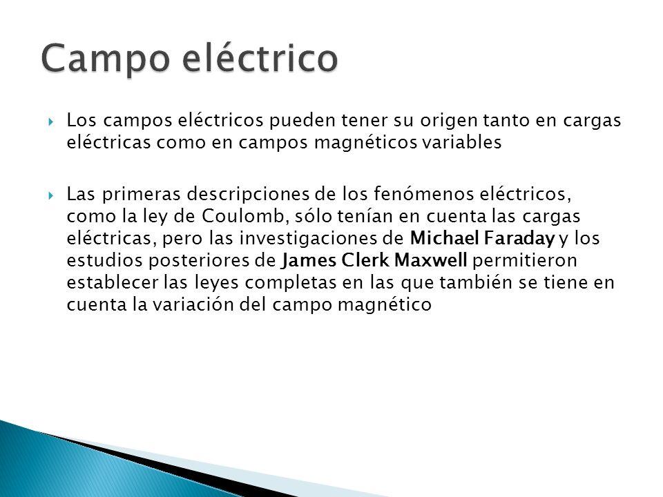 Campo eléctrico Los campos eléctricos pueden tener su origen tanto en cargas eléctricas como en campos magnéticos variables.