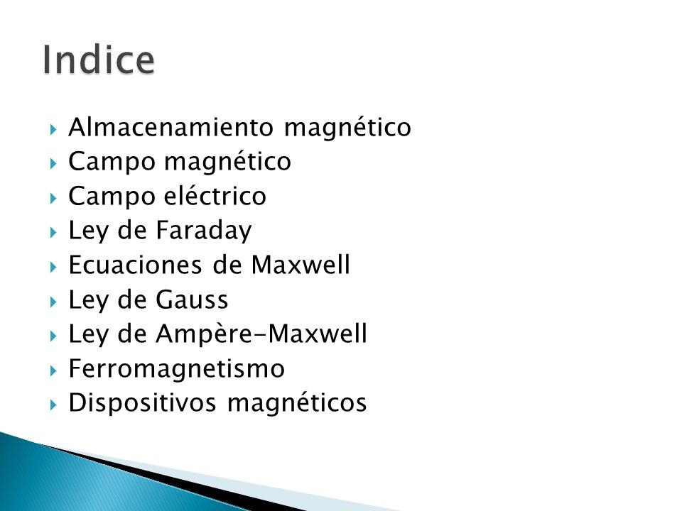 Indice Almacenamiento magnético Campo magnético Campo eléctrico