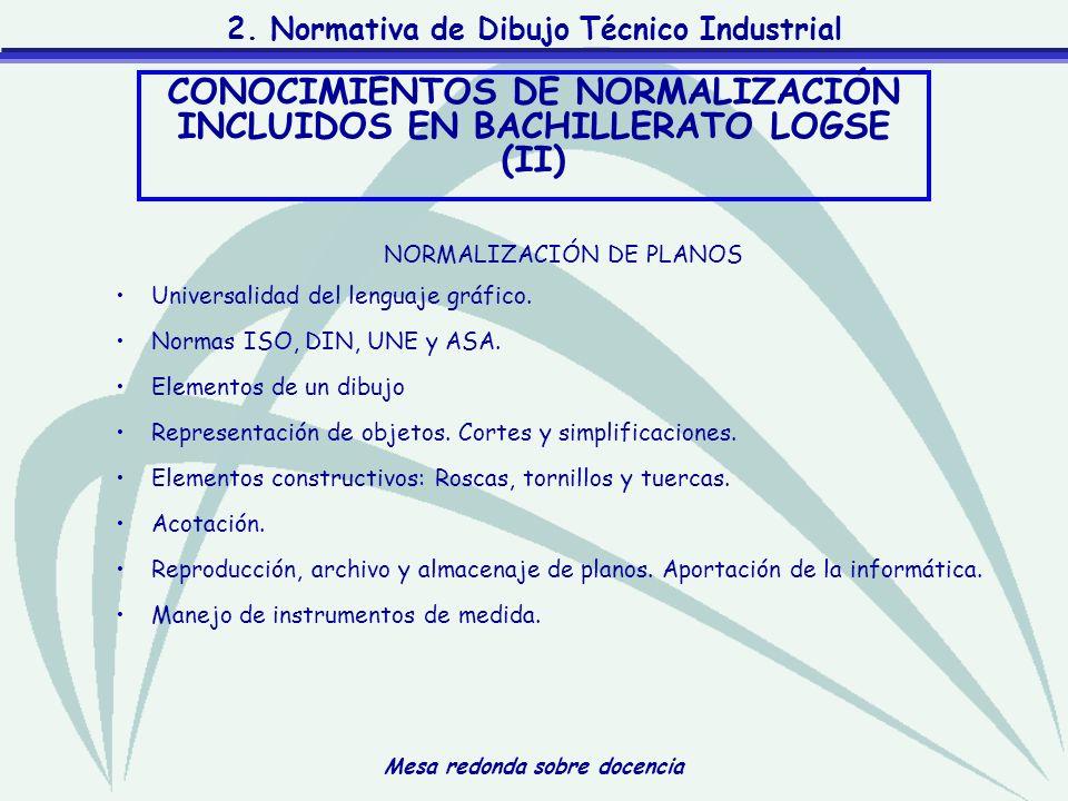 CONOCIMIENTOS DE NORMALIZACIÓN INCLUIDOS EN BACHILLERATO LOGSE (II)