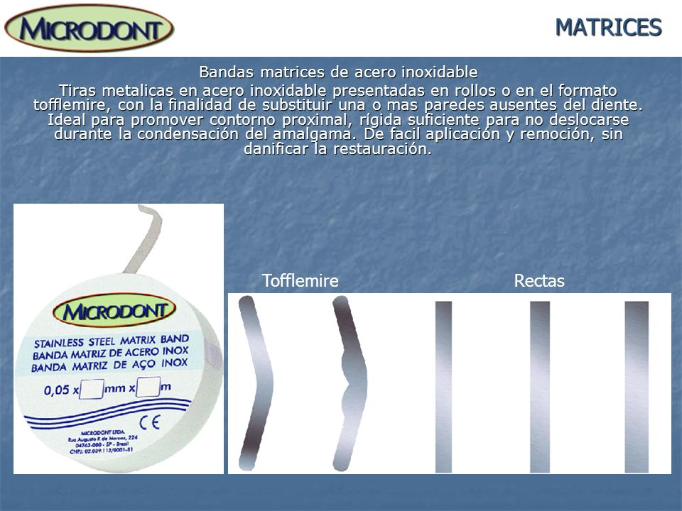Bandas matrices de acero inoxidable