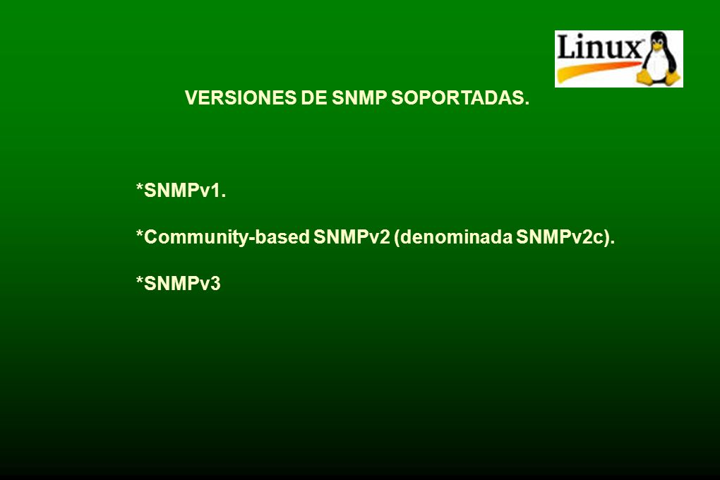 VERSIONES DE SNMP SOPORTADAS.