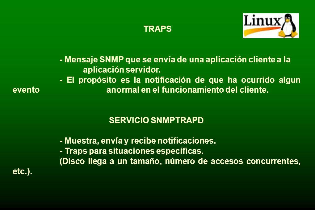 TRAPS - Mensaje SNMP que se envía de una aplicación cliente a la aplicación servidor.