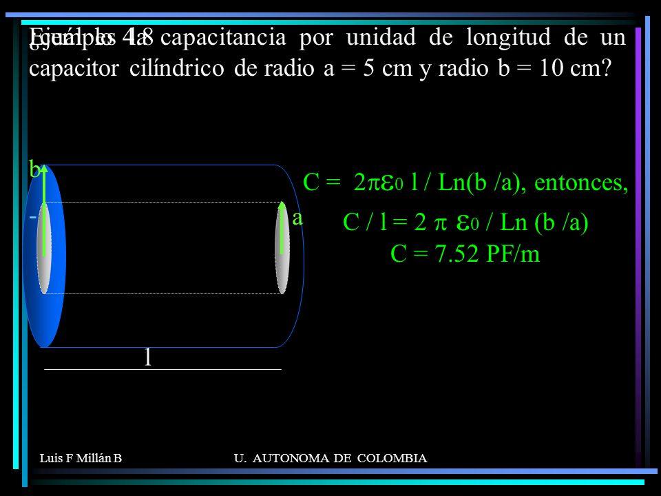 Ejemplo 4.8 ¿cuál es la capacitancia por unidad de longitud de un capacitor cilíndrico de radio a = 5 cm y radio b = 10 cm