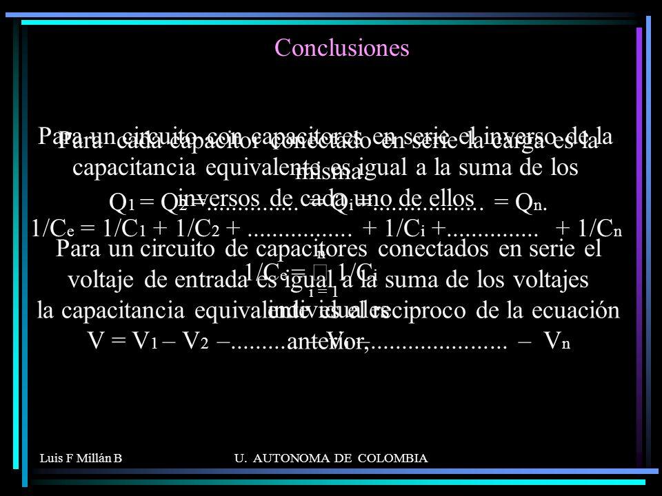 la capacitancia equivalente es el reciproco de la ecuación anterior,