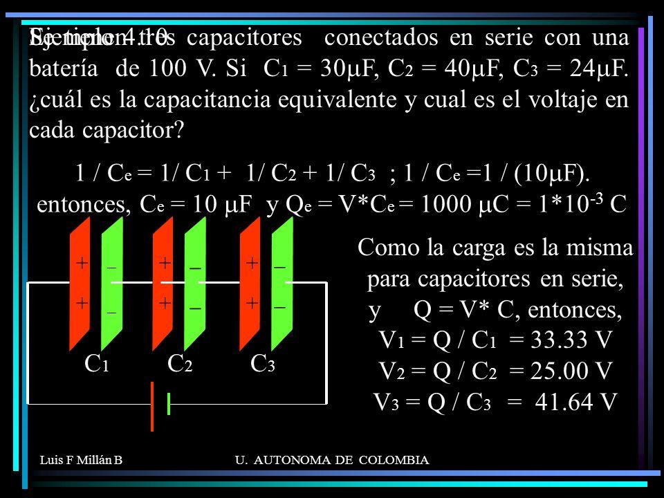 Se tienen tres capacitores conectados en serie con una batería de 100 V. Si C1 = 30mF, C2 = 40mF, C3 = 24mF. ¿cuál es la capacitancia equivalente y cual es el voltaje en cada capacitor