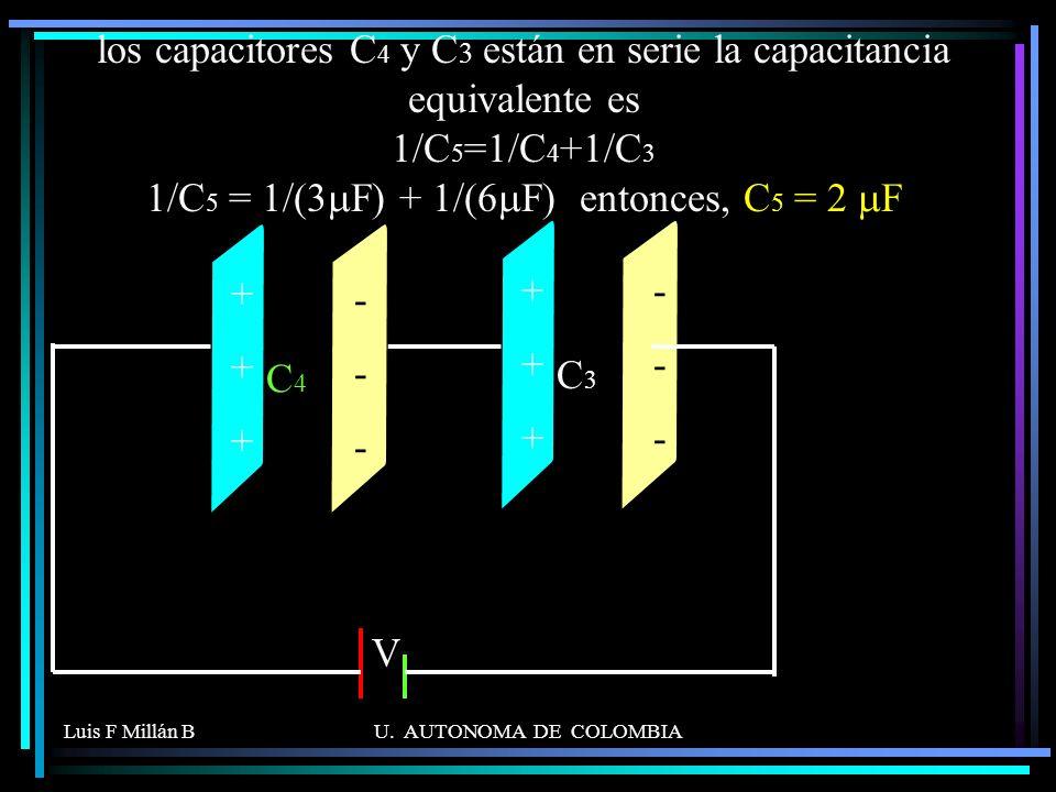los capacitores C4 y C3 están en serie la capacitancia equivalente es 1/C5=1/C4+1/C3 1/C5 = 1/(3mF) + 1/(6mF) entonces, C5 = 2 mF