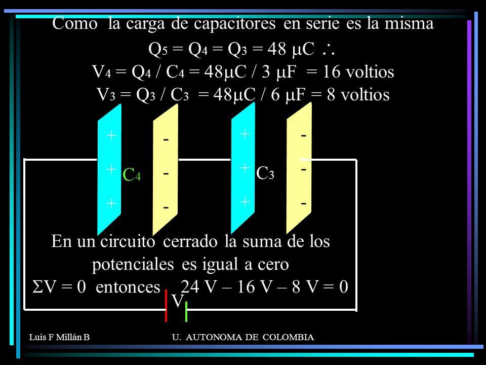 Como la carga de capacitores en serie es la misma Q5 = Q4 = Q3 = 48 mC \ V4 = Q4 / C4 = 48mC / 3 mF = 16 voltios V3 = Q3 / C3 = 48mC / 6 mF = 8 voltios