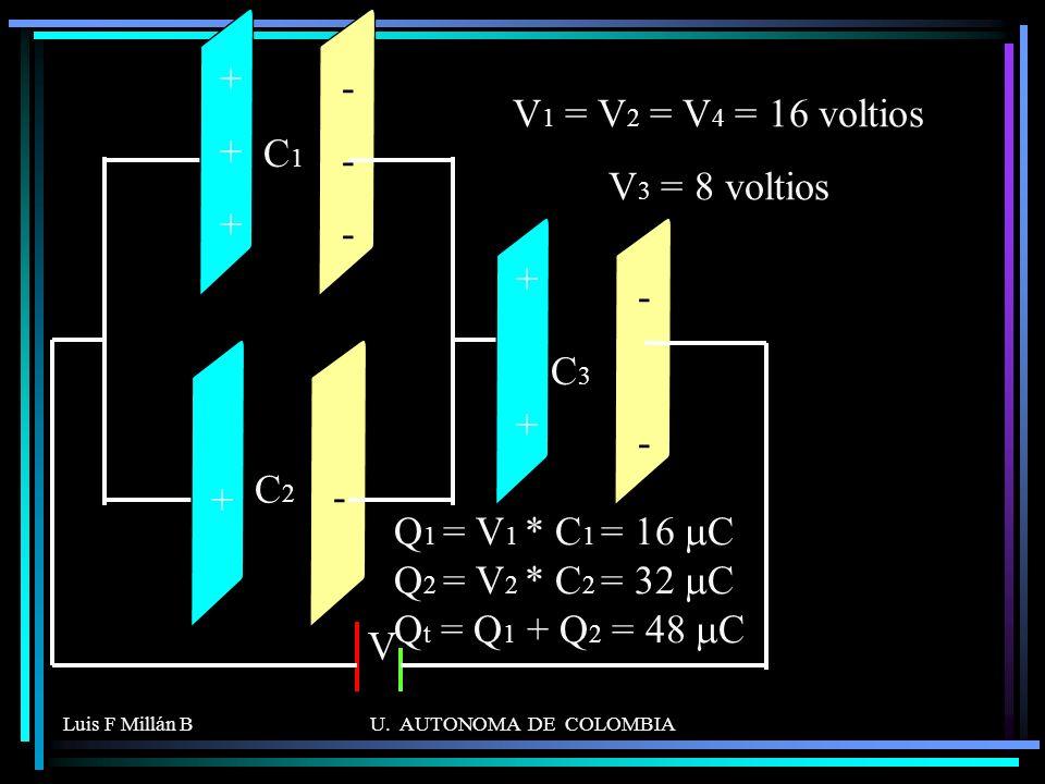 Q1 = V1 * C1 = 16 mC Q2 = V2 * C2 = 32 mC Qt = Q1 + Q2 = 48 mC