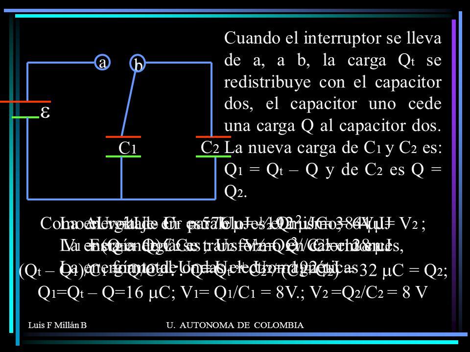 Cuando el interruptor se lleva de a, a b, la carga Qt se redistribuye con el capacitor dos, el capacitor uno cede una carga Q al capacitor dos. La nueva carga de C1 y C2 es: Q1 = Qt – Q y de C2 es Q = Q2.