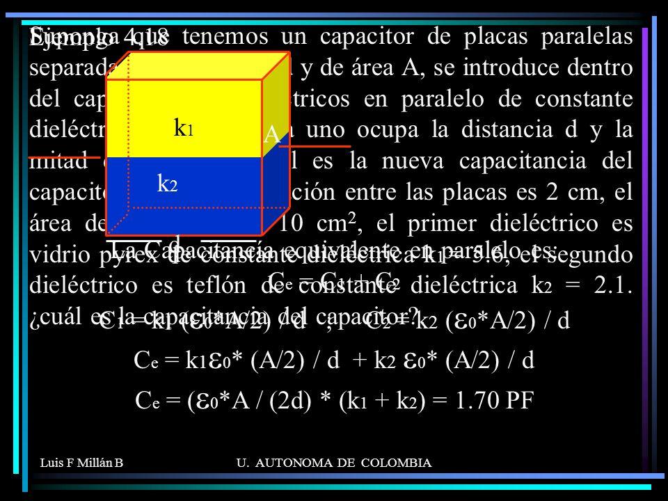 Suponga que tenemos un capacitor de placas paralelas separadas una distancia d y de área A, se introduce dentro del capacitor dos dieléctricos en paralelo de constante dieléctrica k1 y k2. Cada uno ocupa la distancia d y la mitad del área. a) Cual es la nueva capacitancia del capacitor. b) Si la separación entre las placas es 2 cm, el área de las placas de 10 cm2, el primer dieléctrico es vidrio pyrex de constante dieléctrica k1 = 5.6, el segundo dieléctrico es teflón de constante dieléctrica k2 = 2.1. ¿cuál es la capacitancia del capacitor .