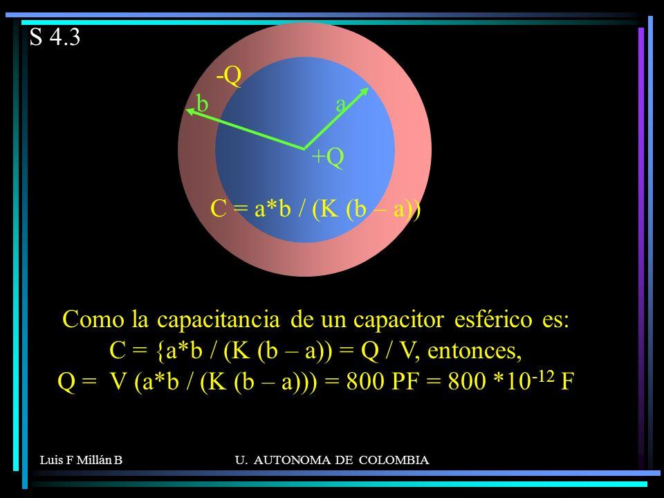 S 4.3 a +Q b -Q C = a*b / (K (b – a))