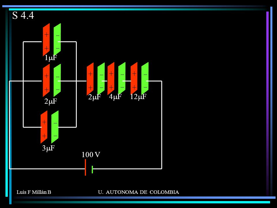 S 4.4 + 2mF 1mF 3mF 4mF 12mF 100 V - Luis F Millán B