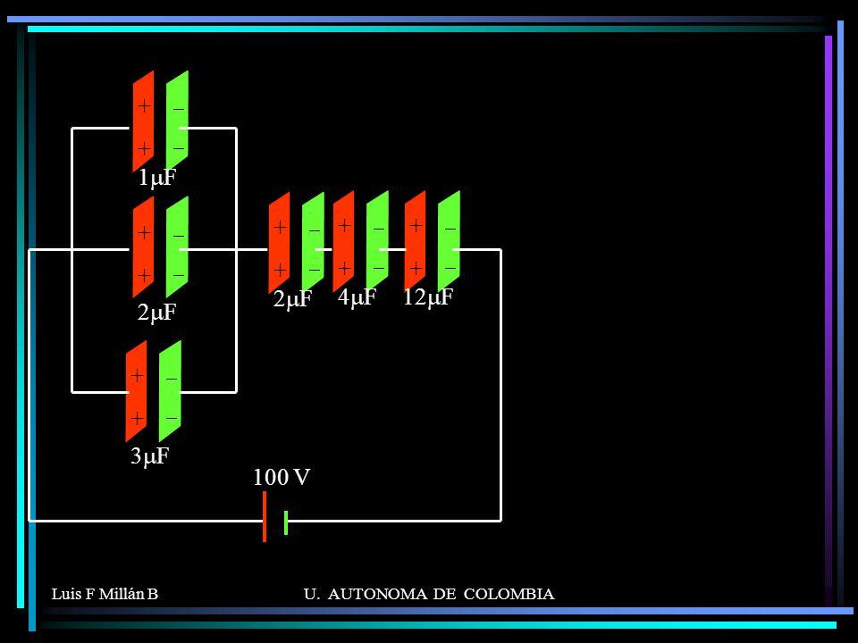 - + 2mF 1mF 3mF 4mF 12mF 100 V Luis F Millán B U. AUTONOMA DE COLOMBIA