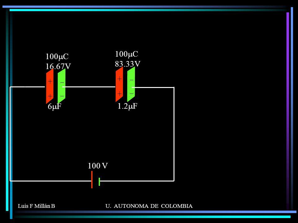 100mC 83.33V 100mC 16.67V + 6mF 1.2mF 100 V - Luis F Millán B