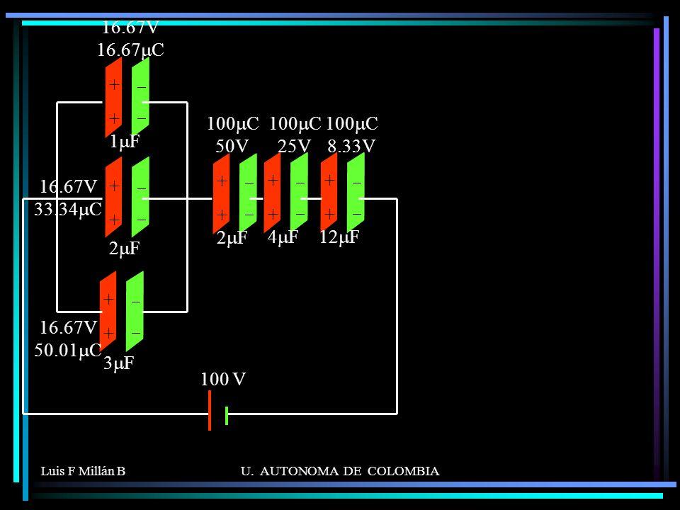 16.67V 16.67mC + 2mF 1mF 3mF 4mF 12mF 100 V 100mC 50V 100mC 25V