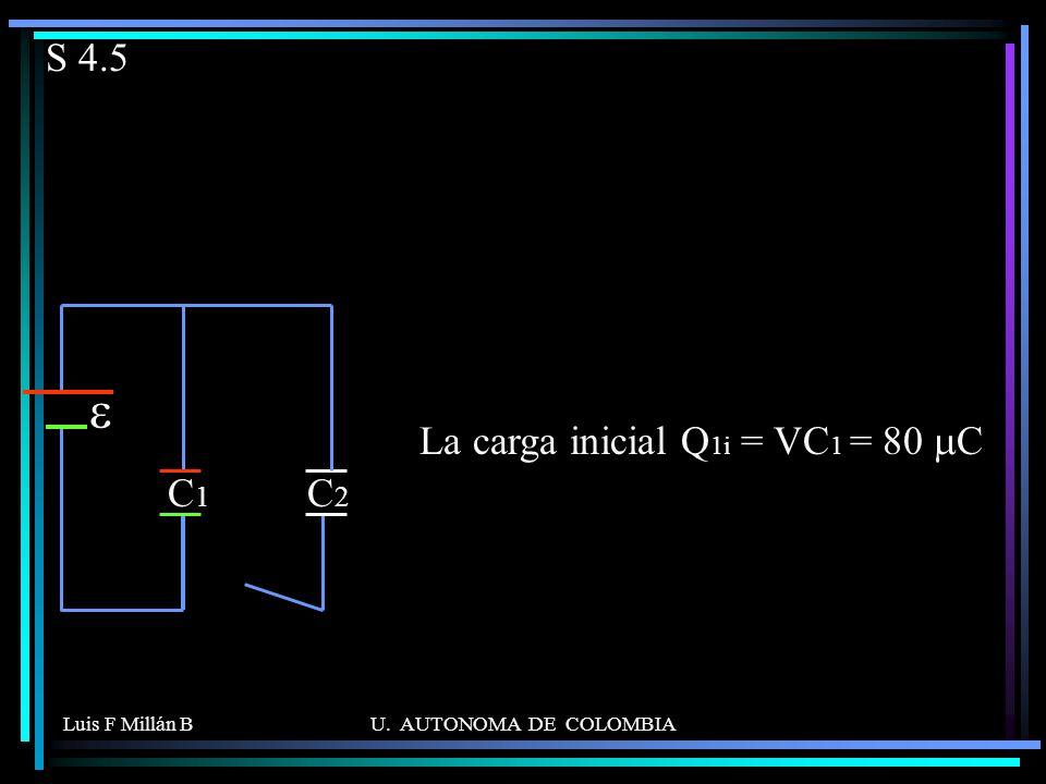 e S 4.5 C1 C2 La carga inicial Q1i = VC1 = 80 mC Luis F Millán B