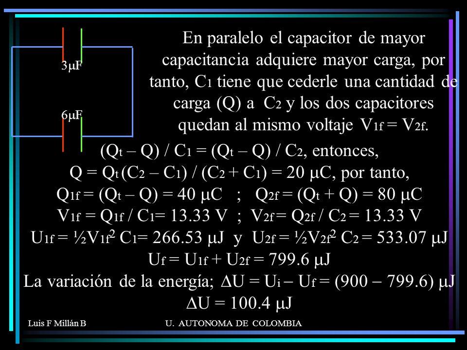 En paralelo el capacitor de mayor capacitancia adquiere mayor carga, por tanto, C1 tiene que cederle una cantidad de carga (Q) a C2 y los dos capacitores quedan al mismo voltaje V1f = V2f.