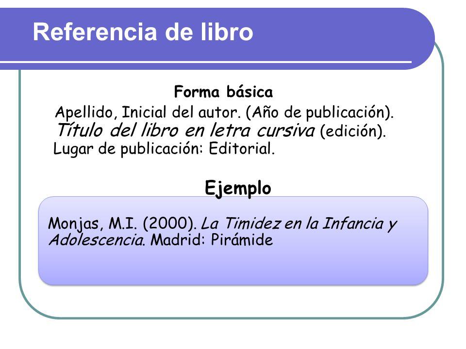 Referencia de libro Ejemplo Forma básica