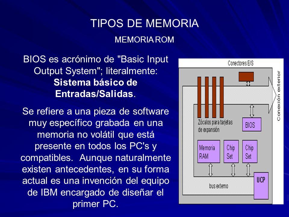 TIPOS DE MEMORIA MEMORIA ROM. BIOS es acrónimo de Basic Input Output System ; literalmente: Sistema básico de Entradas/Salidas.