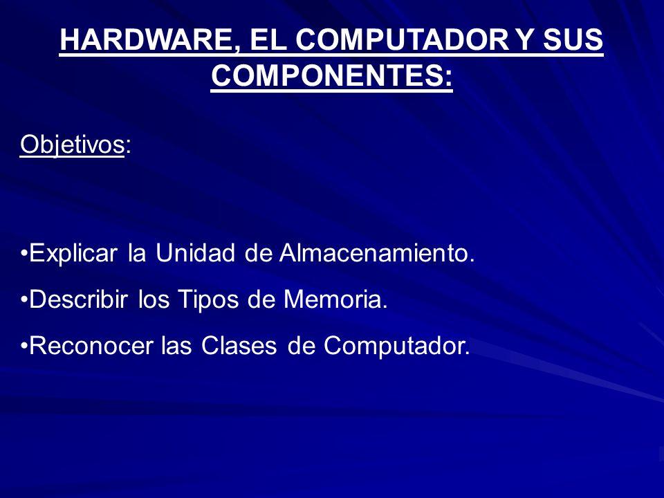 HARDWARE, EL COMPUTADOR Y SUS COMPONENTES:
