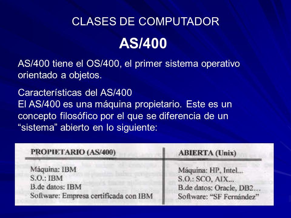 AS/400 CLASES DE COMPUTADOR