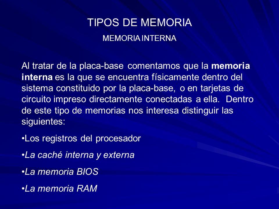 TIPOS DE MEMORIA MEMORIA INTERNA.