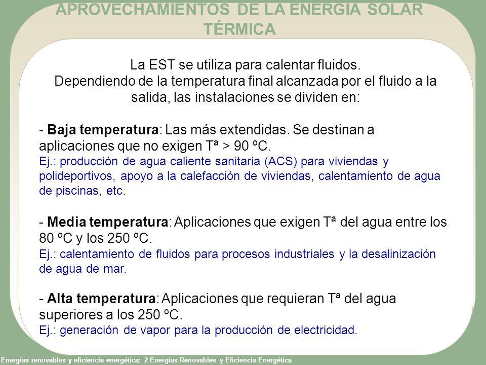 APROVECHAMIENTOS DE LA ENERGÍA SOLAR TÉRMICA