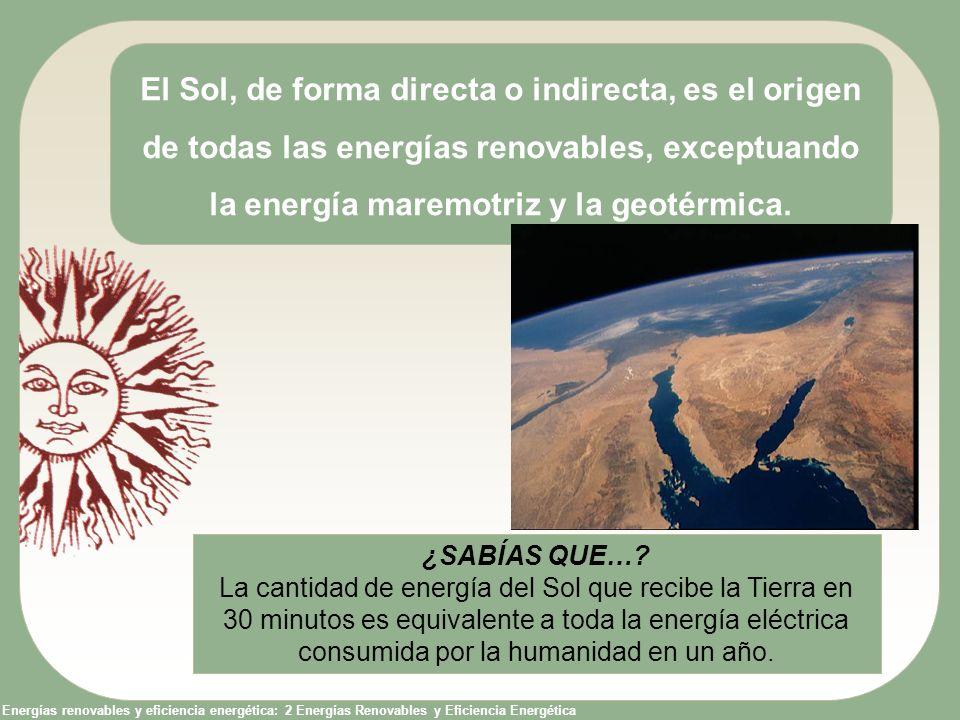 El Sol, de forma directa o indirecta, es el origen de todas las energías renovables, exceptuando la energía maremotriz y la geotérmica.