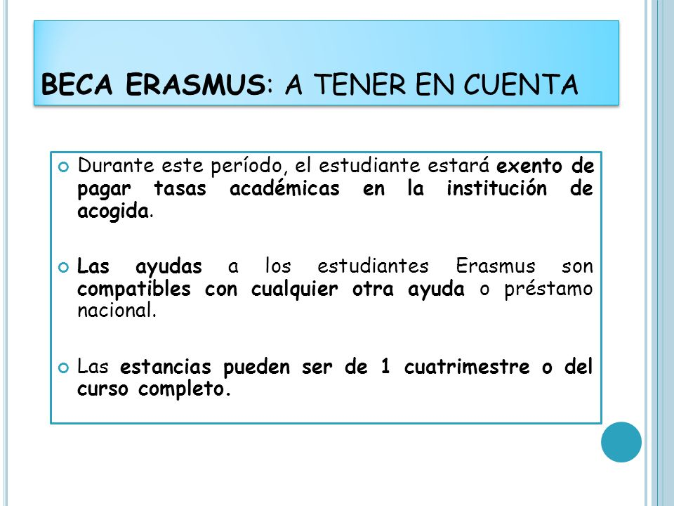 BECA ERASMUS: A TENER EN CUENTA