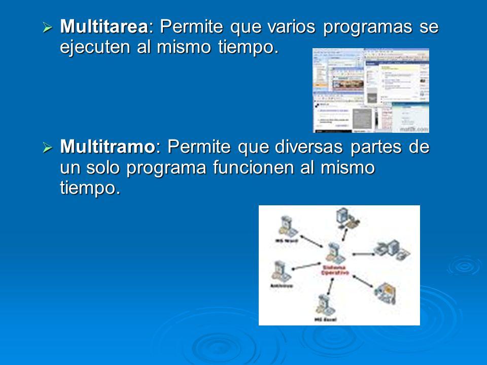 Multitarea: Permite que varios programas se ejecuten al mismo tiempo.