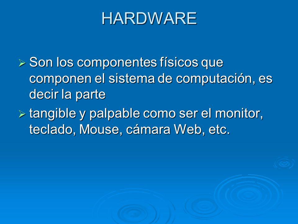 HARDWARE Son los componentes físicos que componen el sistema de computación, es decir la parte.
