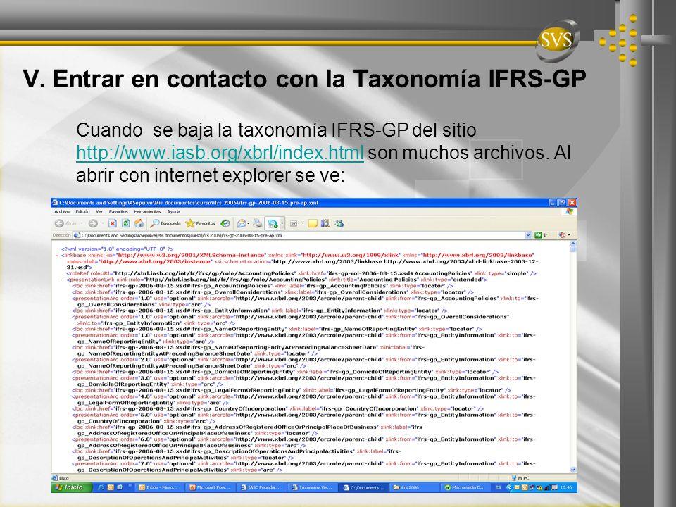 V. Entrar en contacto con la Taxonomía IFRS-GP