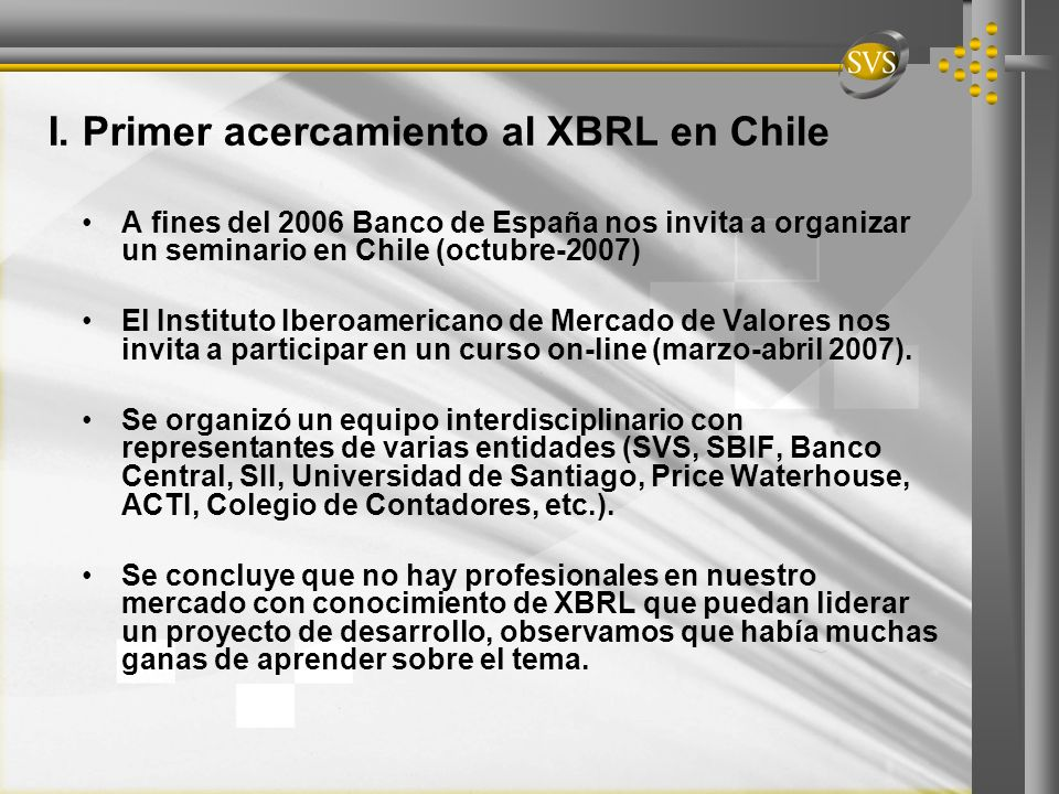 I. Primer acercamiento al XBRL en Chile