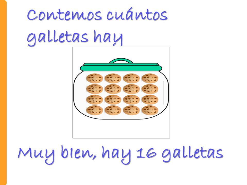Contemos cuántos galletas hay Muy bIen, hay 16 galletas
