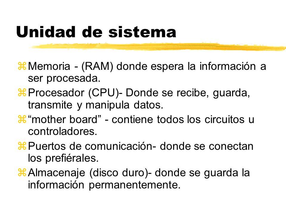 Unidad de sistema Memoria - (RAM) donde espera la información a ser procesada.