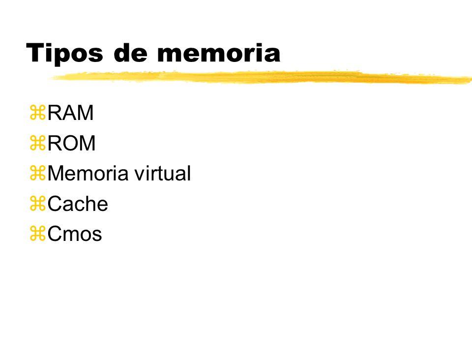 Tipos de memoria RAM ROM Memoria virtual Cache Cmos